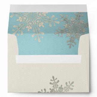 Silver Blue Ivory Snowflake Winter Wedding A7 Envelope