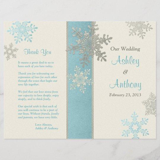 silver blue ivory snowflake winter wedding program zazzle com