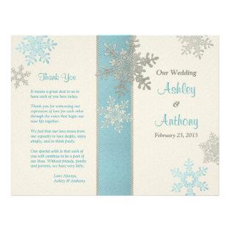 Silver Blue Ivory Snowflake Winter Wedding Program