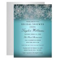 Silver Blue Jewel Snowflake Bridal Shower Invite