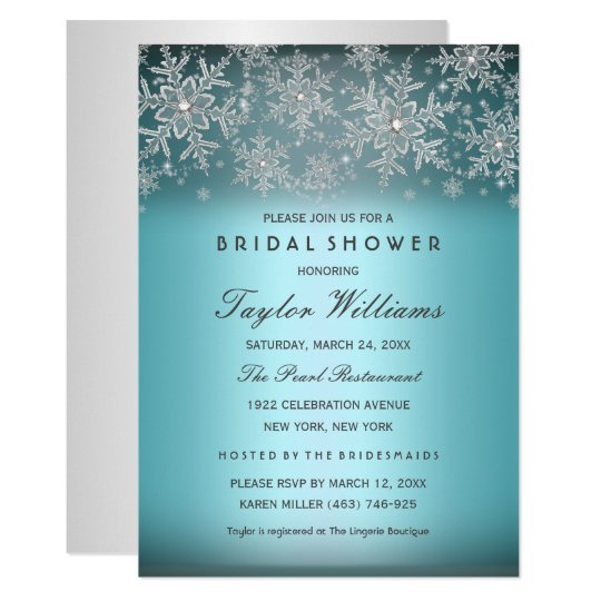 silver blue jewel snowflake bridal shower invite