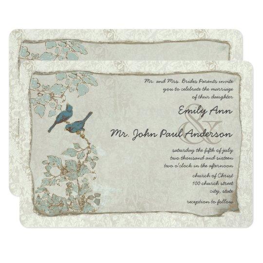 Silver Blue Love Bird Damask Wedding Invitations