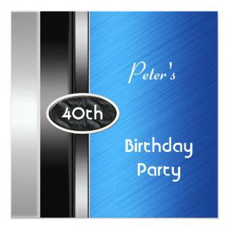 Silver Blue Mens 40th Birthday Party Man Card