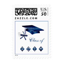 Silver blue mortar, diploma class of 2018 postage