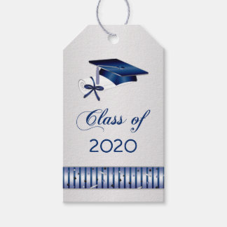 Silver blue mortar, diploma Graduation Gift Tags