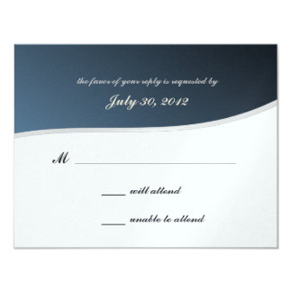 "Silver Blue Music Bar Mitzvah/ Response Card 4.25"" X 5.5"" Invitation Card"