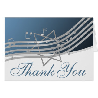 Silver Blue Music in the Air Thank You Note Stationery Note Card
