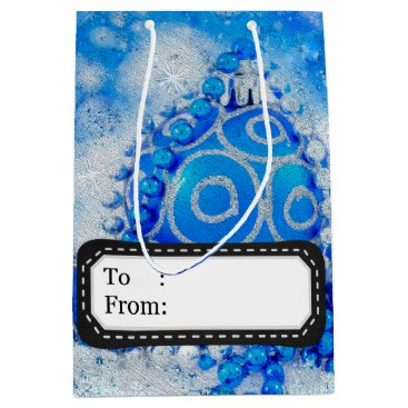 Professional Business Silver blue ornaments medium gift bag