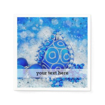 Professional Business Silver blue ornaments paper napkin