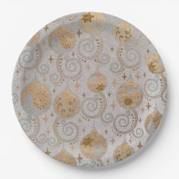 Professional Business Silver blue ornaments paper plate