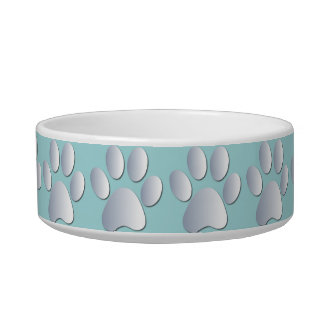 Silver blue pawprints beautiful pet cat bowl, gift bowl