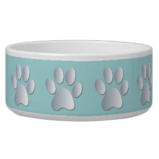 Silver blue pawprints beautiful pet dog bowl, gift pet bowls