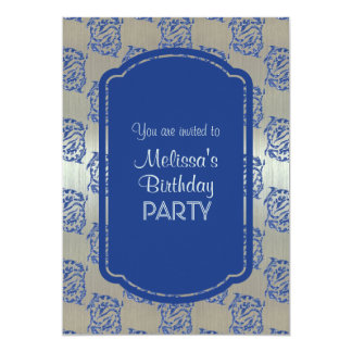 Silver Blue Pisces Fish Birthday Party Invitations