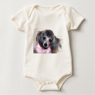 Silver Blue Poodle Puppy Face Portrait Baby Bodysuit