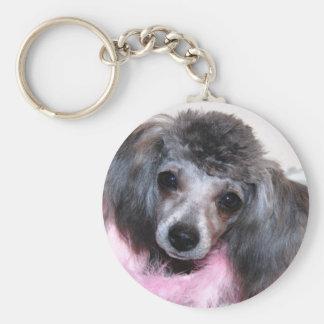 Silver Blue Poodle Puppy Face Portrait Keychain