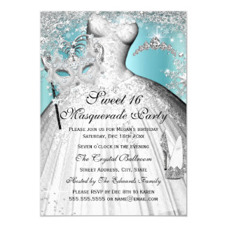 Silver Blue Princess Masquerade Sweet 16 Invite