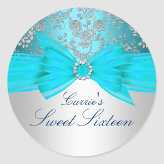 Silver & Blue Rose Sweet Sixteen Sticker