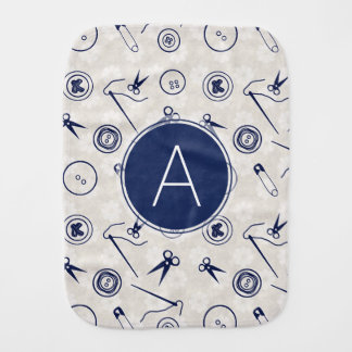 Silver Blue Sewing Pattern with Monogram Baby Burp Cloth
