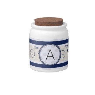 Silver Blue Sewing Pattern with Monogram Candy Jars