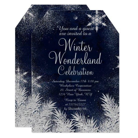 Silver blue snowflake corporate winter wonderland2 invitation
