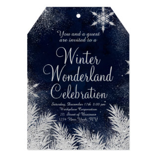 Silver Blue Snowflake Corporate Winter Wonderland3 Card at Zazzle