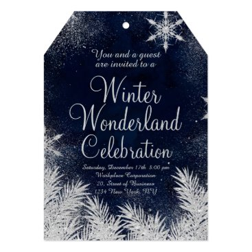 Professional Business Silver blue snowflake corporate winter wonderland3 card