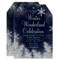 Silver blue snowflake corporate winter wonderland invitation
