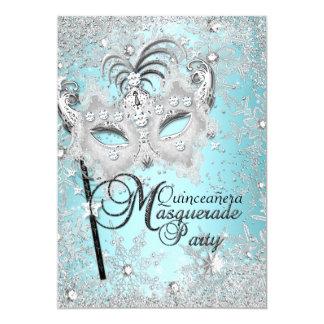 Silver Blue Snowflake Mask Masquerade Quinceanera Card