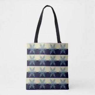 Silver Blue Snowflake Navy Stripe Holiday Tote Bag