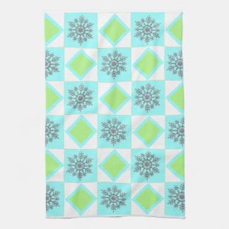 Silver & Blue Snowflake Pattern Kitchen Towel