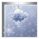 Silver Blue Snowflake Sweet Sixteen Birthday 5.25x5.25 Square Paper Invitation Card
