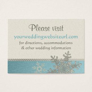 Silver Blue Snowflake Wedding Website Insert Card
