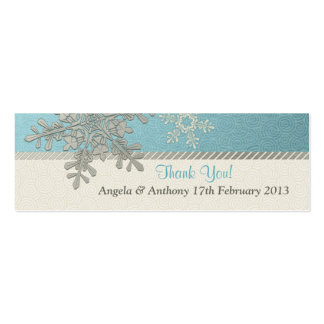 Silver Blue Snowflake Winter Wedding Favor Tags Double-Sided Mini Business Cards (Pack Of 20)