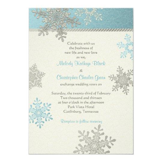 Baby Blue Wedding Invitations: Silver Blue Snowflake Winter Wedding Invitation