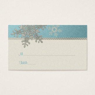 Silver Blue Snowflake Winter Wedding Place Cards