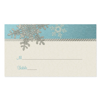 Silver Blue Snowflake Winter Wedding Place Cards Double-Sided Standard Business Cards (Pack Of 100)