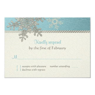 Silver Blue Snowflake Winter Wedding Reply Card Personalized Announcement