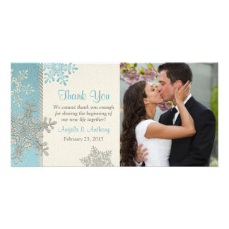 Silver Blue Snowflake Winter Wedding Thank You Card