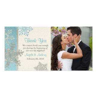 Silver Blue Snowflake Winter Wedding Thank You Photo Card