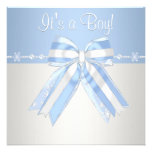 Silver Blue Snowflakes Baby Boy Shower Invitations