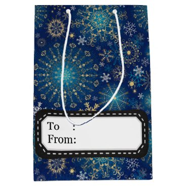 Professional Business Silver blue snowflakes medium gift bag