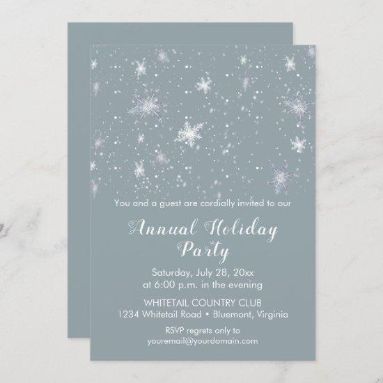 Silver Blue Snowflakes Snow Christmas Party Invitation
