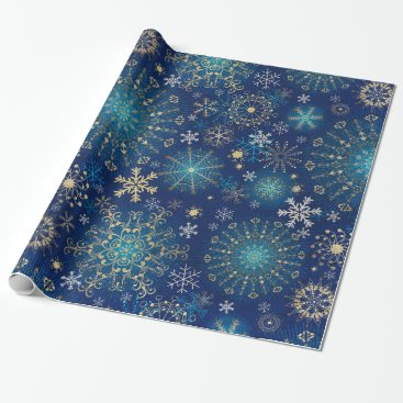 Professional Business Silver blue snowflakes wrapping paper