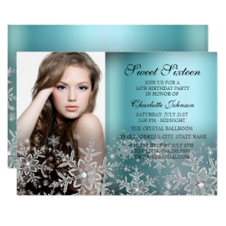 Silver Blue Sparkle Snowflake Photo Sweet 16 Card