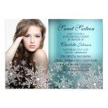 Silver Blue Sparkle Snowflake Photo Sweet 16 Card