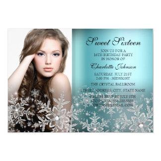 Silver Blue Sparkle Snowflake Photo Sweet 16 5x7 Paper Invitation Card