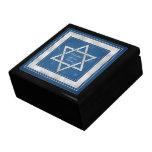 Silver Blue Star of David Customizable Jewish Trinket Box