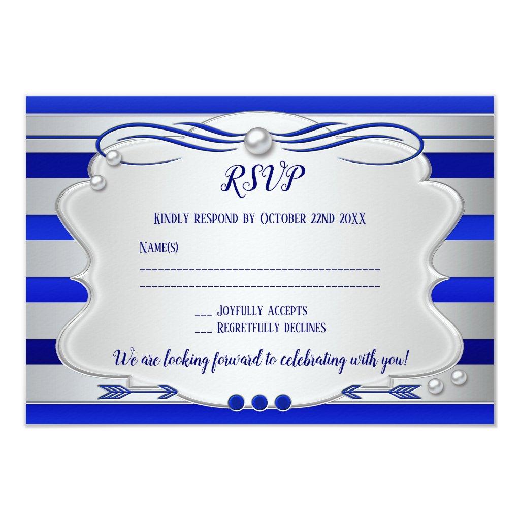 Silver Blue Striped Pearl Wedding RSVP Card