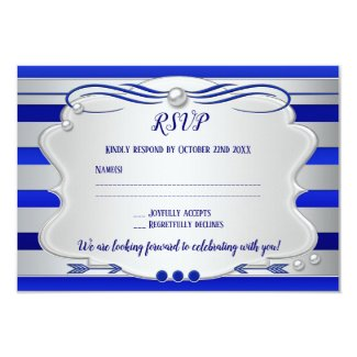 Silver Blue Striped Pearl Wedding RSVP Card