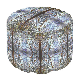 Silver Blue Sun Angels by Deprise Round Pouf